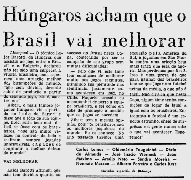 BRASIL 1966 HUNGRIA
