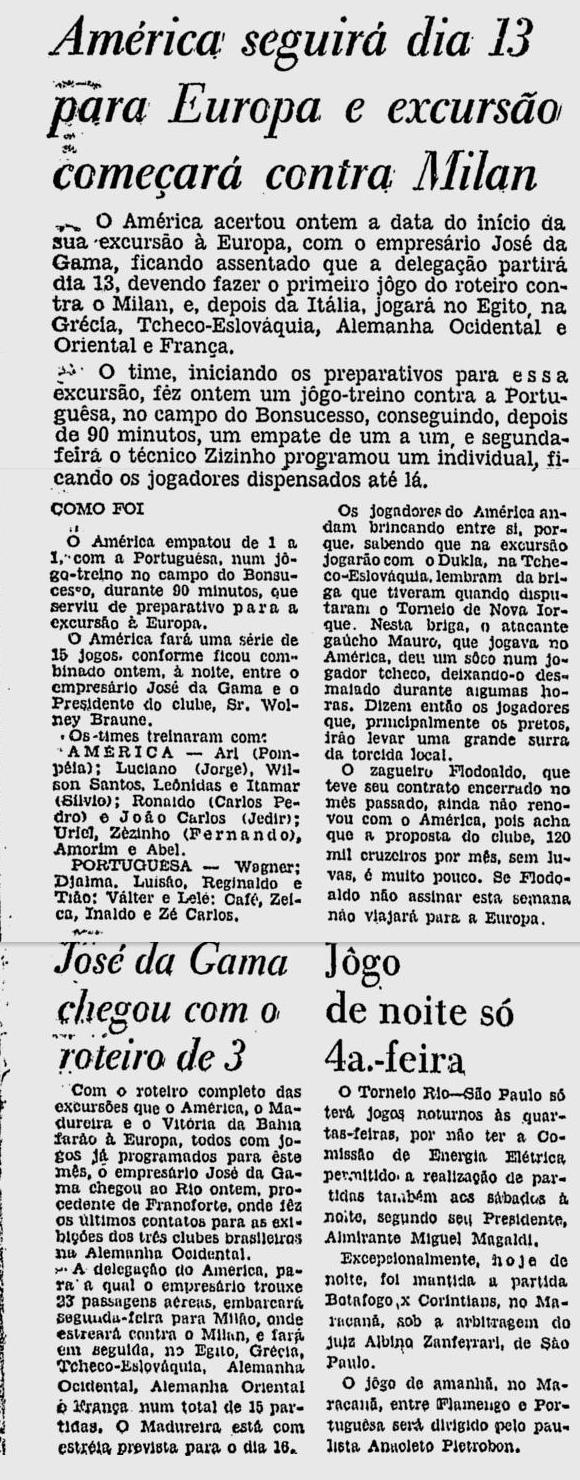 bonsucesso america 31 03 1964 viagem só no dia 13