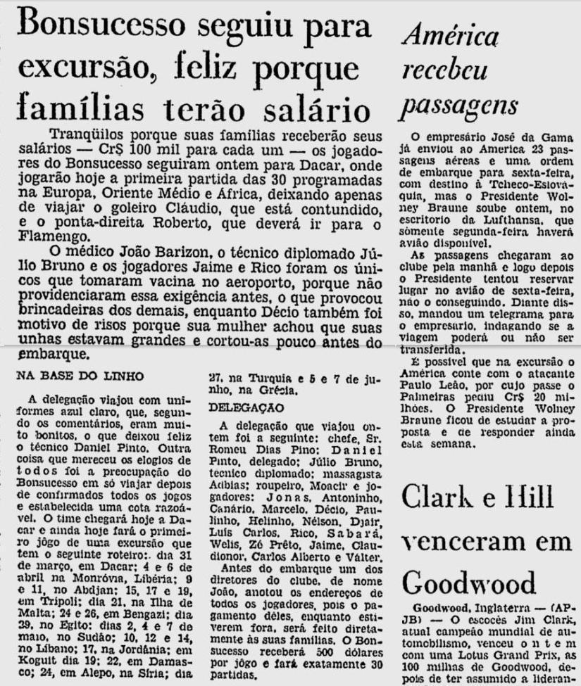 bonsucesso america 31 03 1964