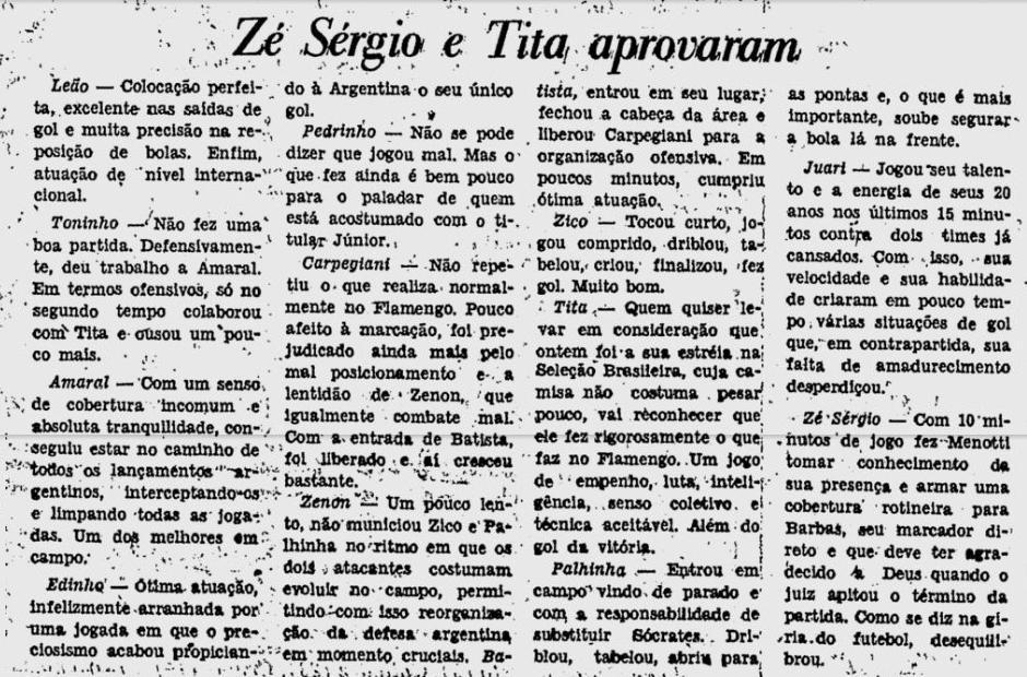 Brasil 2 1 argentina 1979 4 atuações