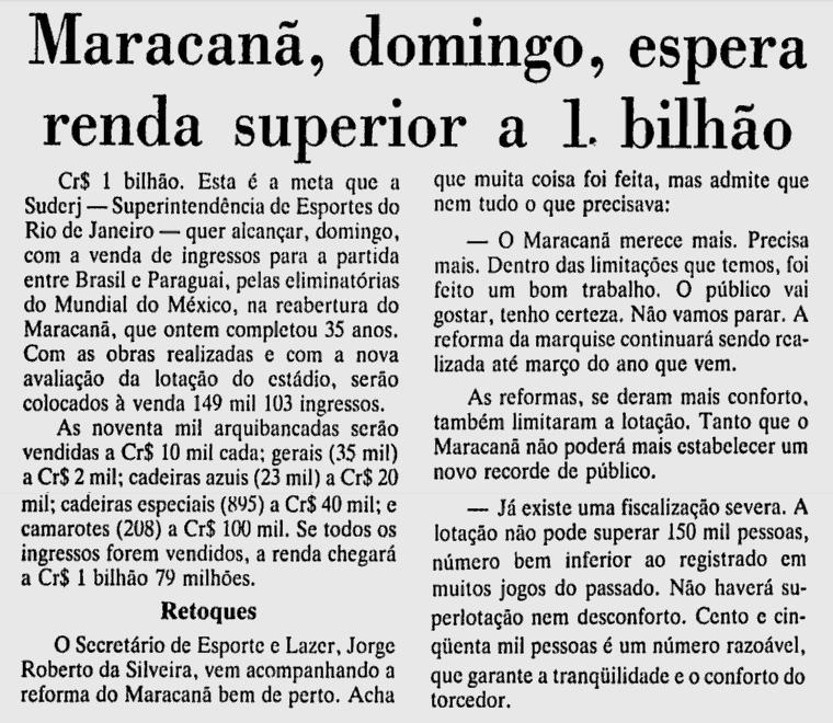 o jogo de um bilhão 18 06 1985