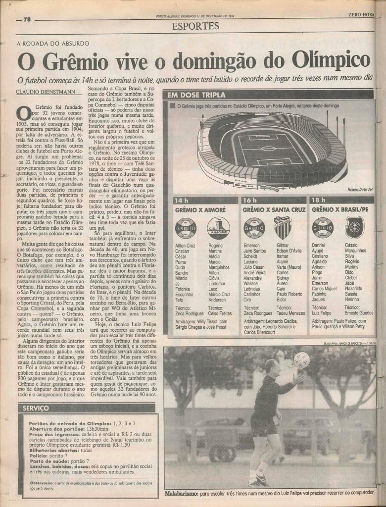grêmio 1994 tres jogos